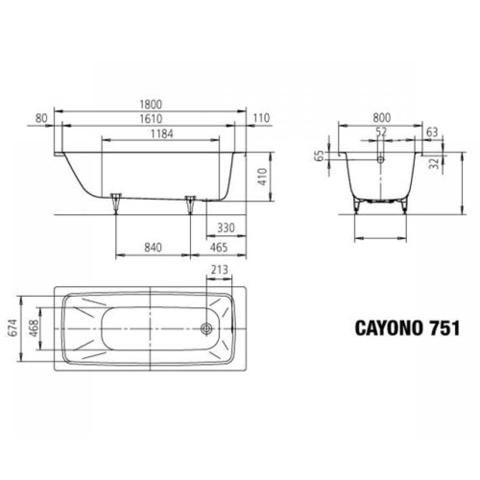 Ванна стальная  Kaldewei Cayono  180x80x41см. standard mod. 751 275100010001 схема
