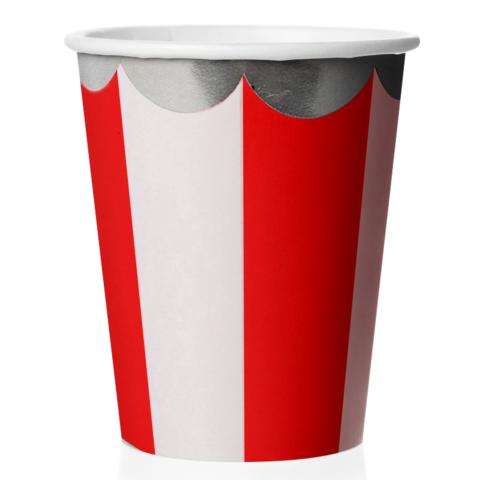 Стаканы (180 мл) Серебряная кайма, Красный/Белый, 6 шт.