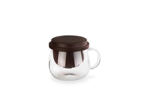 Стеклянная заварочная кружка с колбой и крышкой из исинской глины, 400 мл. Интернет магазин чая
