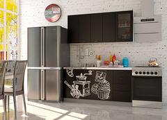 Кухня Coffee Time 1.6 / Шагрень черная - верх / Coffee черный - низ