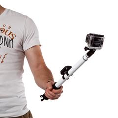 Телескопический монопод для GoPro с креплением для пульта (White)