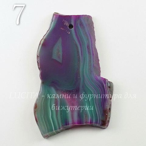 Подвеска Срез Агата (тониров)(цвет - фиолетовый с зеленым) 51-66 мм (№7 (62х37 мм))