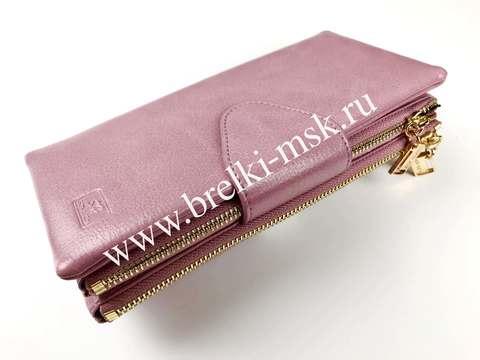 Женский кошелек из натуральной кожи. Цвет Пудровый