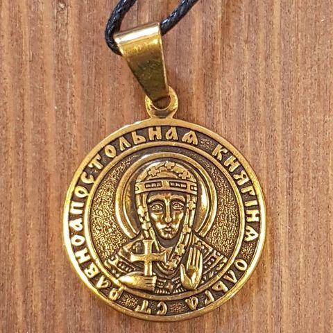Святая Ольга именная нательная икона из бронзы кулон с молитвой