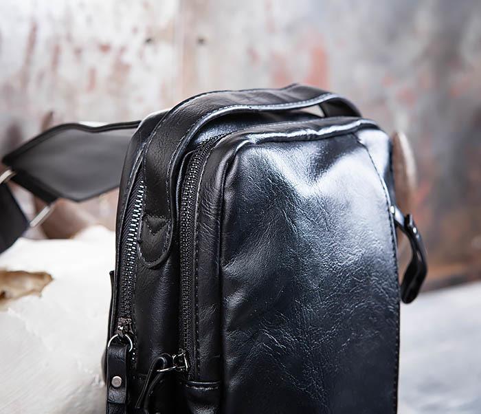 BAG452-1 Мужской рюкзак черного цвета с одной лямкой фото 03
