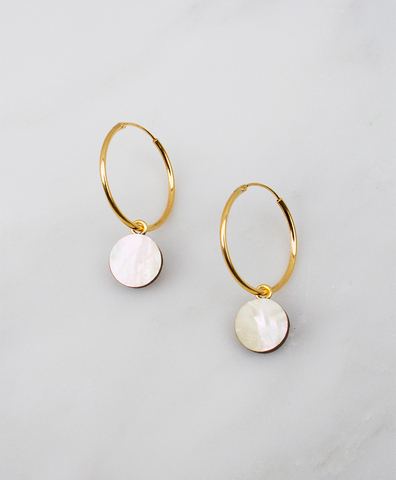 Серьги Dot Charm Hoops Mother of Pearl