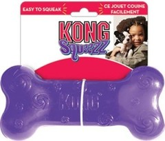 Игрушка для собак KONG Squeezz Косточка  15 см средняя резиновая с пищалкой