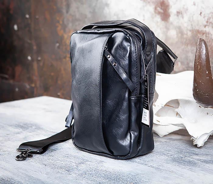 BAG452-1 Мужской рюкзак черного цвета с одной лямкой фото 04