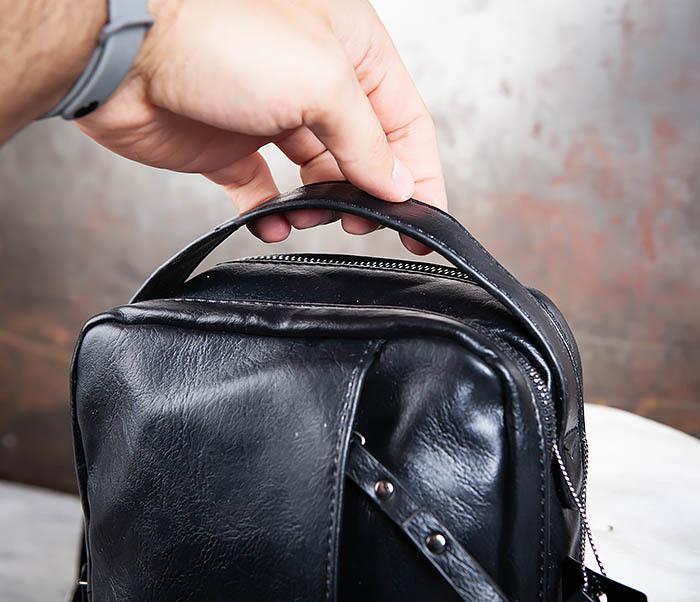 BAG452-1 Мужской рюкзак черного цвета с одной лямкой фото 05