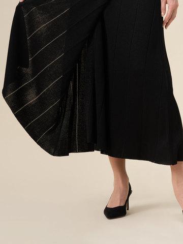 Женское платье-кимоно с поясом черного цвета из вискозы - фото 3
