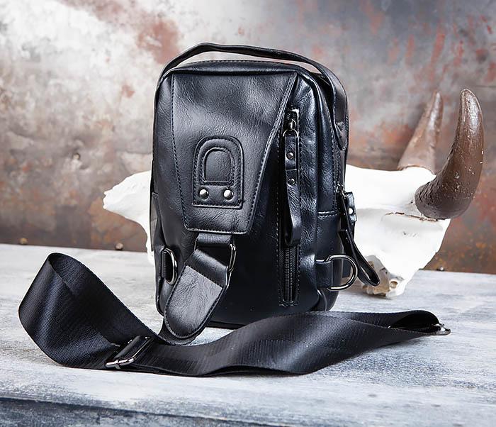 BAG452-1 Мужской рюкзак черного цвета с одной лямкой фото 06