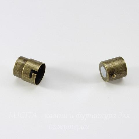 Замок для шнура 10 мм магнитный из 2х частей, 18х12 мм (цвет - античная бронза)