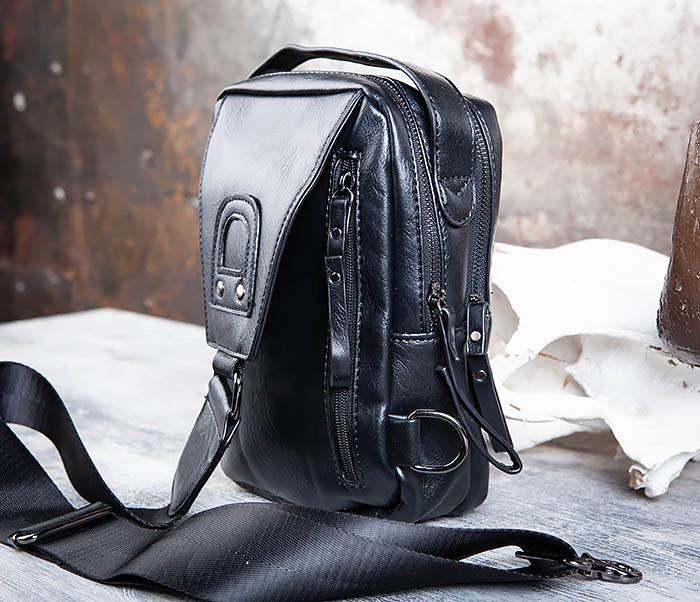 BAG452-1 Мужской рюкзак черного цвета с одной лямкой фото 07