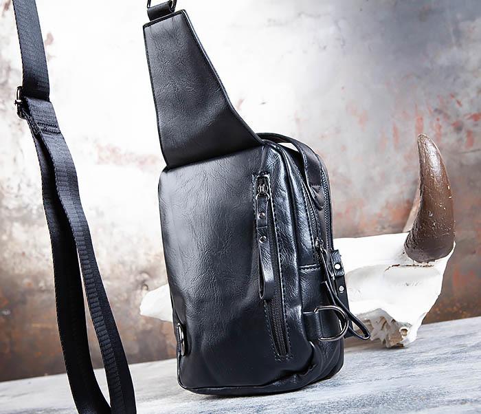 BAG452-1 Мужской рюкзак черного цвета с одной лямкой фото 09