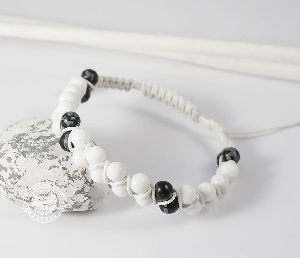 BS605 Белый мужской браслет шамбала ручной работы из натурального камня. «Boroda Design» фото 04