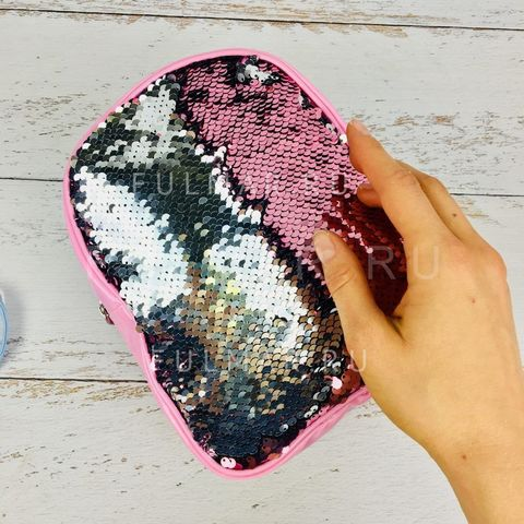 Рюкзак-сумка Трансформер с пайетками меняющие цвет Розово-Серебристый