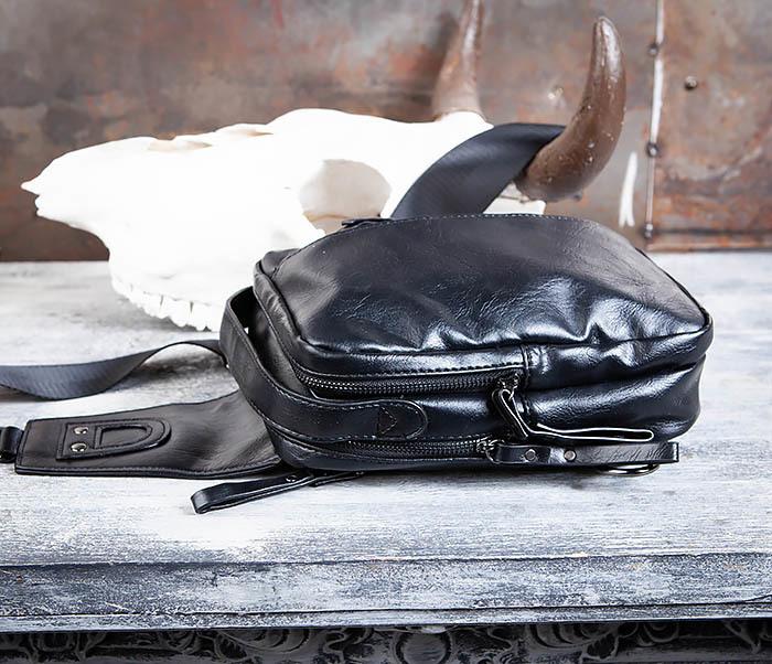 BAG452-1 Мужской рюкзак черного цвета с одной лямкой фото 10