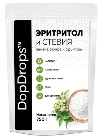 Эритритол и Стевия DopDrops, 750гр 1к1 по сладости сахара