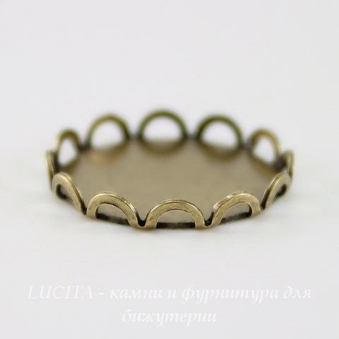 Сеттинг - основа для камеи или кабошона 15 мм (оксид латуни)