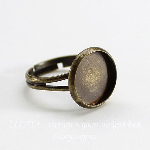 Основа для кольца с сеттингом для кабошона 12 мм (цвет - античная бронза)