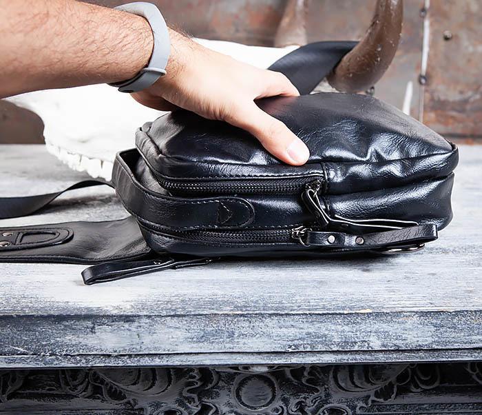 BAG452-1 Мужской рюкзак черного цвета с одной лямкой фото 11