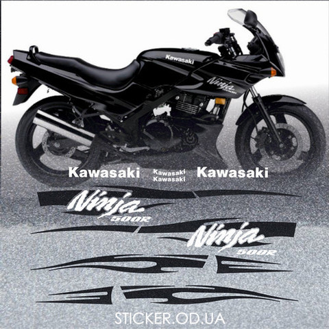 Набор виниловых наклеек на мотоцикл KAWASAKI NINJA 500R, 2008-2009