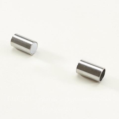 Замок для шнура 6 мм магнитный из 2х частей, 24х7 мм (цвет - платина)
