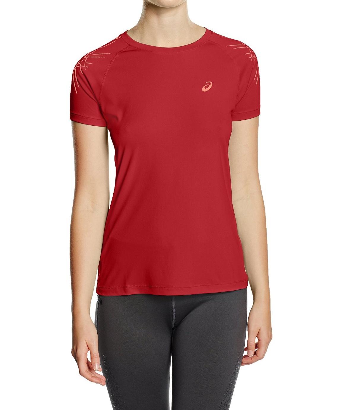 Женская футболка для бега Asics Stripe SS Top (126232 6010) красная фото