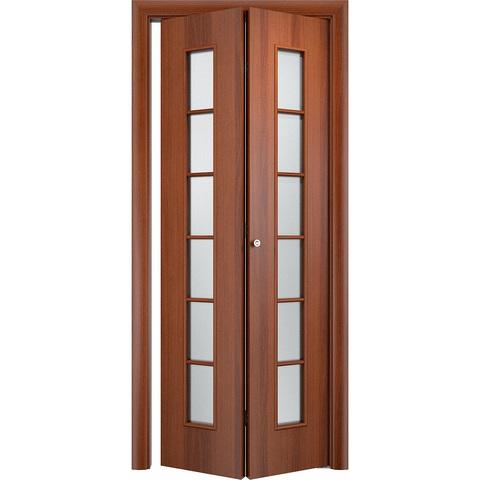 Складная дверь Лесенка итальянский орех со стеклом