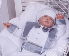 Комплект на выписку для мальчика Вилли белый с серым