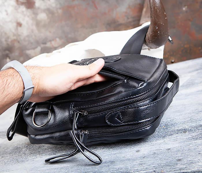 BAG452-1 Мужской рюкзак черного цвета с одной лямкой фото 13