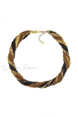Бисерное ожерелье из 36 нитей, цвет золотисто-черный