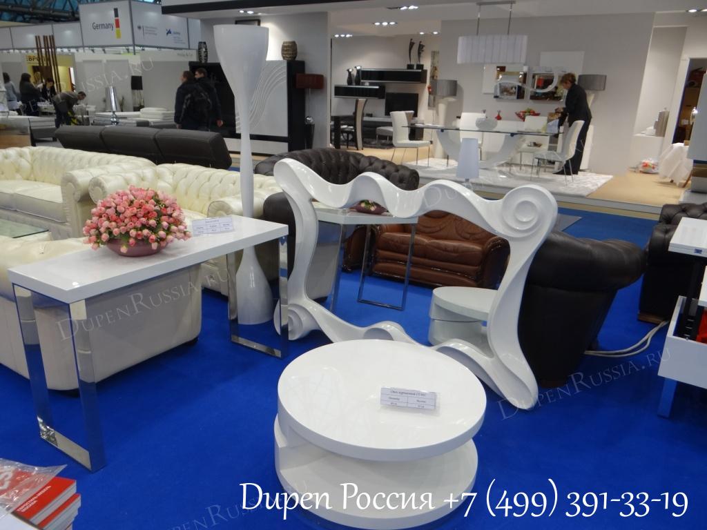 Консоль DUPEN (Дюпен) CON-02 белая, Зеркало DUPEN (Дюпен) PU183В белое, Стол журнальный DUPEN (Дюпен) CT-042 белый