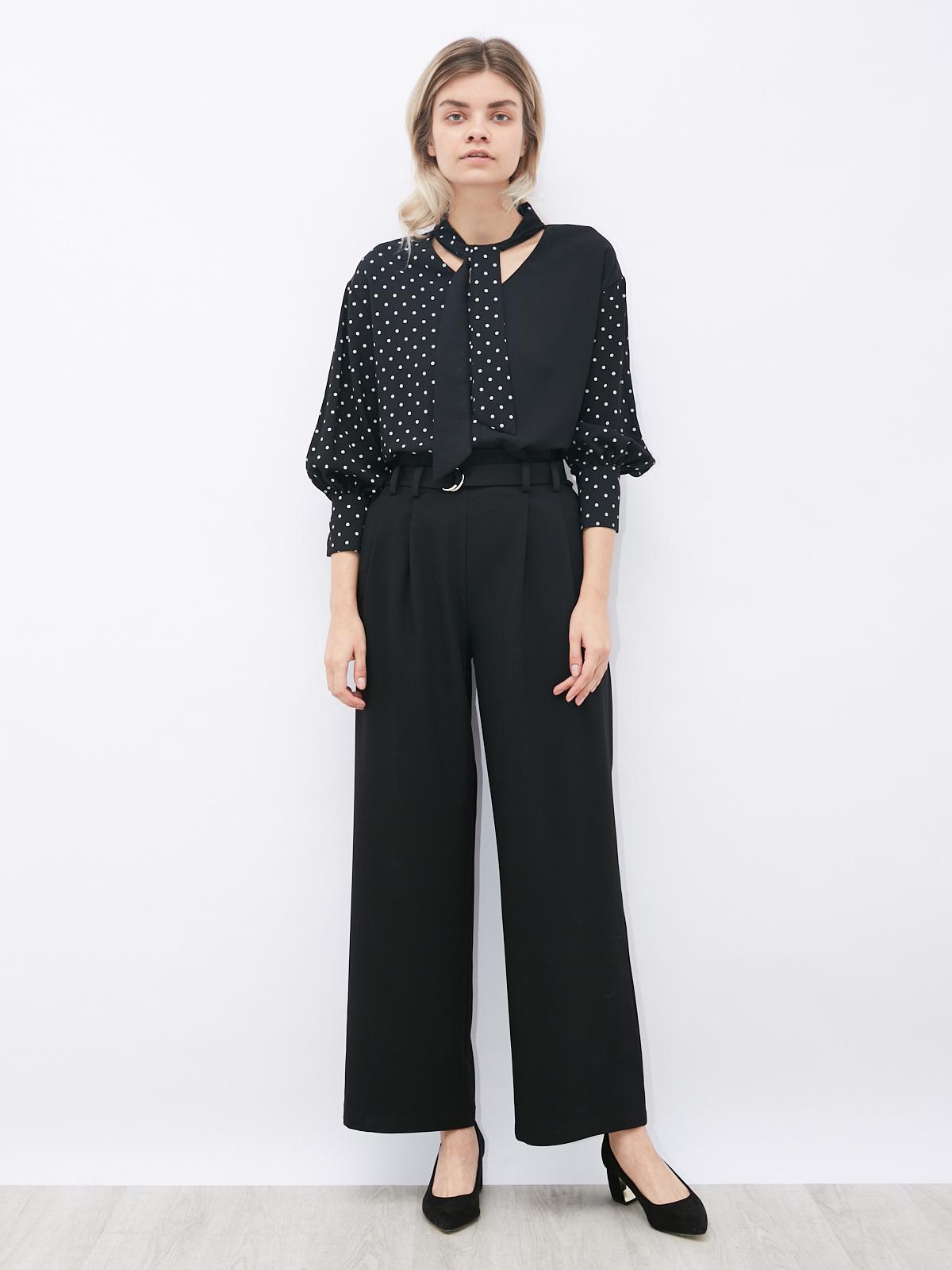 Блуза комбинированная в горошек с бантом