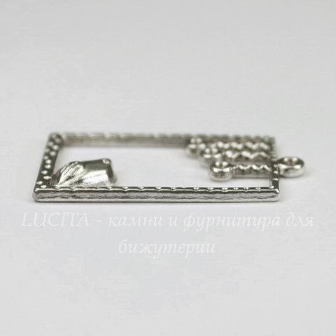 """Подвеска """"Птичка"""" в рамке (цвет - античное серебро) 34х19 мм"""
