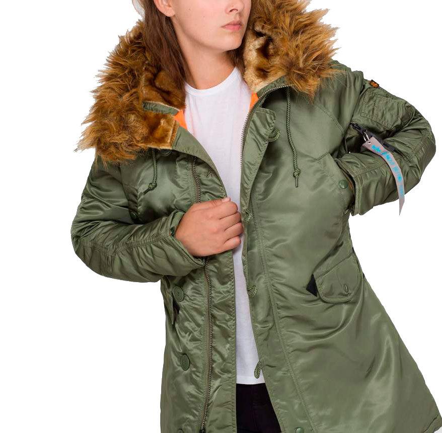 Куртка Аляска Женская - N3B VF59 (зеленая/оранж - s.green/orange)