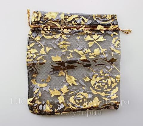 """Подарочный мешочек из органзы """"Золотые розы"""" черный, 12х10 см"""