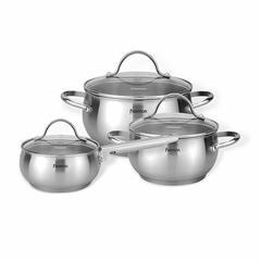 15829 FISSMAN Набор посуды MARTINEZ 6 пр. со стеклянными крышками (нерж. сталь)