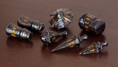 PolyHero dice warrior set steel grey & molten copper