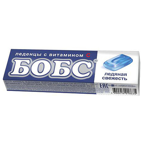 БОБС ледяная свежесть, леденцы с витамином С 12*24бл, 35г.