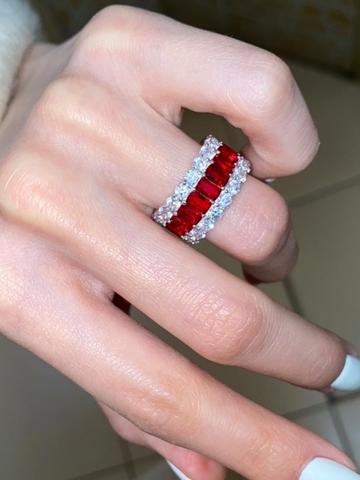 Кольцо дорожка из серебра с рубиновыми цирконами