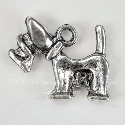 """Подвеска """"Скотч-терьер"""" 18х15 мм (цвет - античное серебро)"""