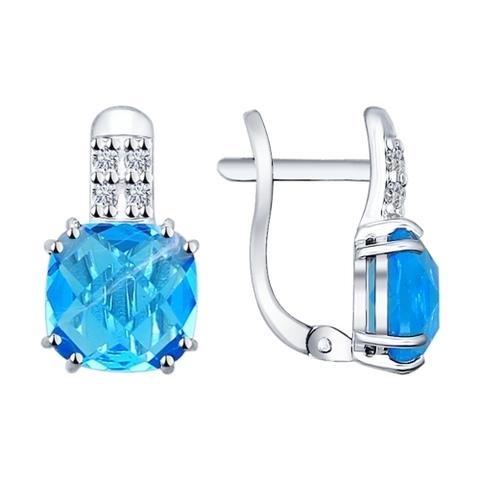 Серьги из серебра с голубыми стеклянными вставками и фианитами