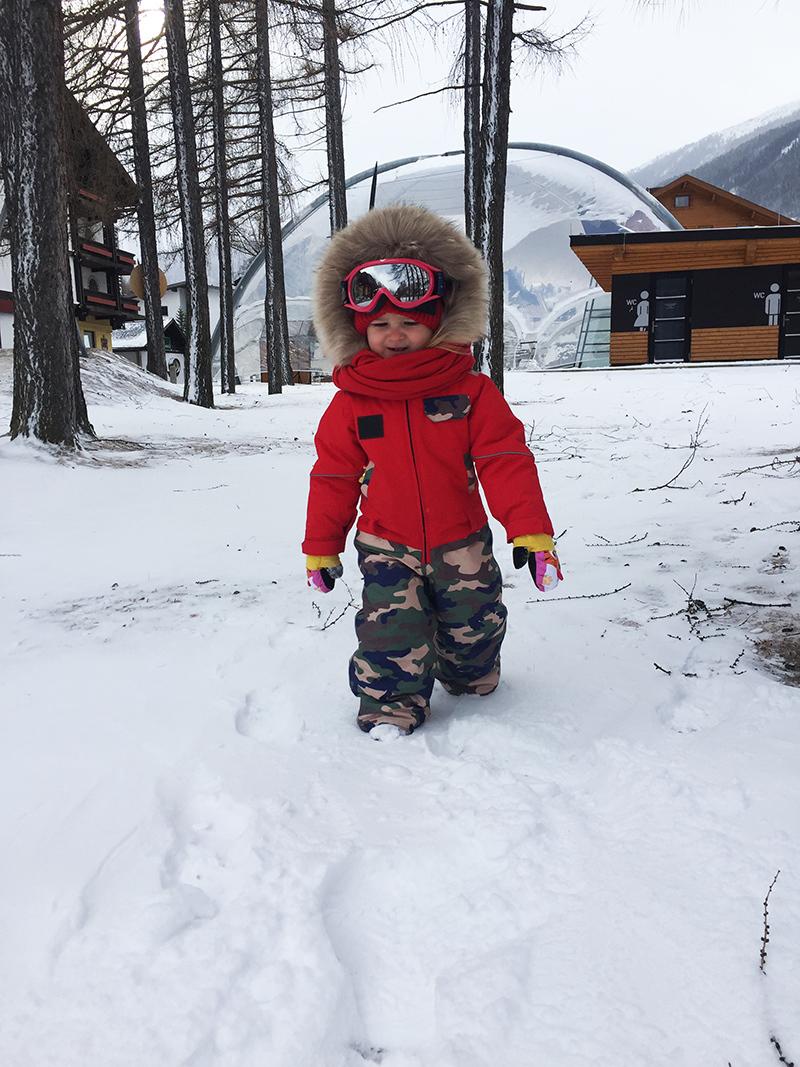 комбинезон детский зимний SASHA JUNIOR красный с милитари