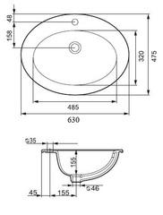 Раковина встраиваемая на столешницу Cersanit Gamma 63 см