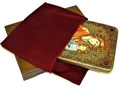 Инкрустированная рукописная икона Божией Матери Скоропослушница 29х21см на натуральном дереве, в подарочной коробке