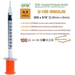 Шприцы одноразовые инсулиновые SFM U 100 0,5 мл
