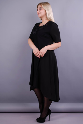 Лазур. Елегантна жіноча сукня великих розмірів. Чорний.