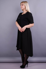 Лазурь. Элегантное женское платье больших размеров. Черный.