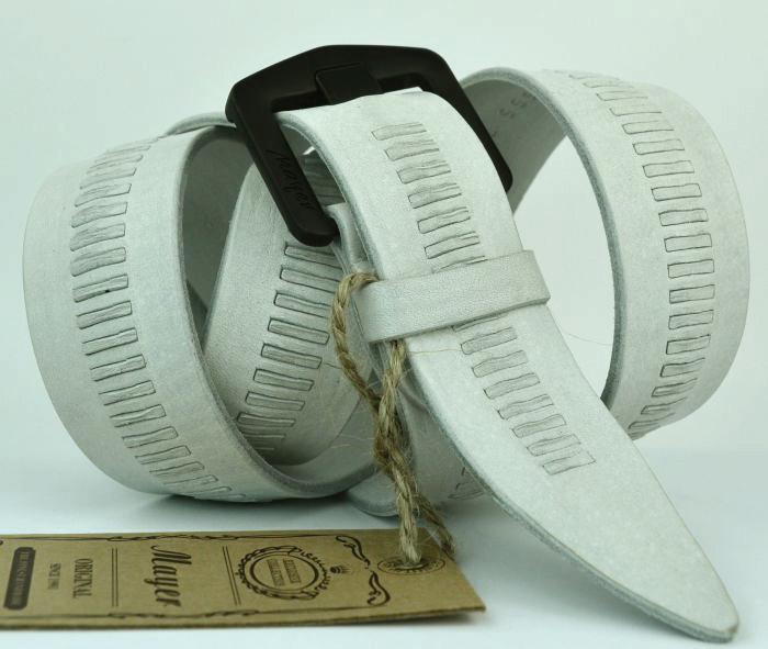 Мужской кожаный белый ремень 40Mayer-062